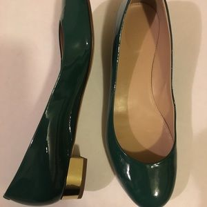 Jcrew janey green patent leather heels